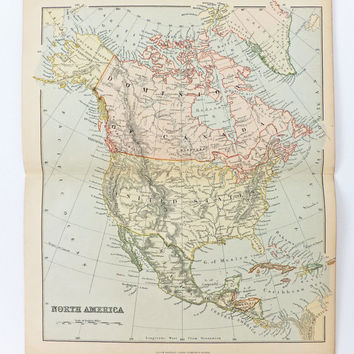 Antique Map of North America, Vintage Map of United States and Canada, 1880s, Home Decor, Office Decor
