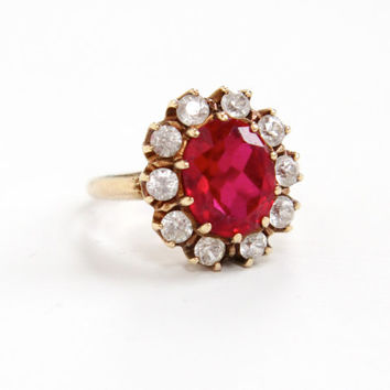Vintage 10k Yellow Gold Created Ruby & Spinel Cluster Ring - Size 5 Pink Clear Stones Fine Jewelry Dated 1949 Hallmarked Rothman Schneider