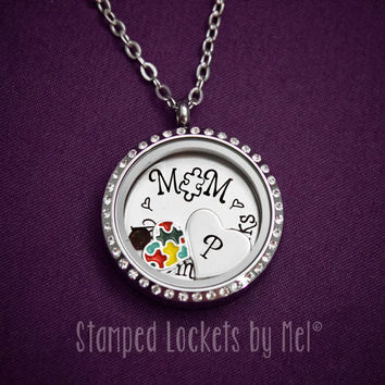 Autism Speaks - Stainless Steel Floating Memory Locket - Autistic Child Awareness - Mommy Jewelry - Mothers necklace with Puzzle Charm