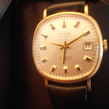 Vintage rare Swiss Priosa 14k 25 jewels automatic incabloc men's wristwatch