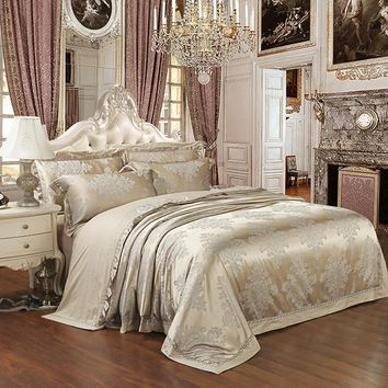 Silver Color Queen King size Bedding sets Stain Jacquard Luxury 4/6pcs Wedding Duvet cover Bed sheet set Fit sheet Bedlinen