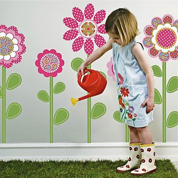 Pink Multicolor Flower Power Wall Decals with Leaves and Stems