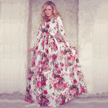 Women Casual Floral Printed Long Sleeve Long Dress