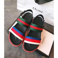 Gucci Sandals Leisure Gucci Slippers Shining Surface Women Shoes B/A Rainbow Stripe