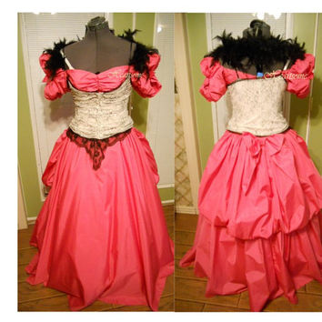 Masquerade Dress ste&unk gown Victorian Ball pink black corset vintage 80s boa Costume & HeartsomeHalos on Etsy on Wanelo