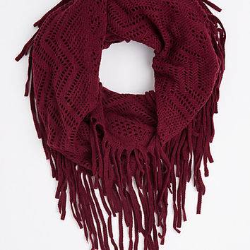 Tan Fringe Pointelle Infinity Scarf