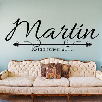 Custom Family Name Decal with Year Established - family wall decal
