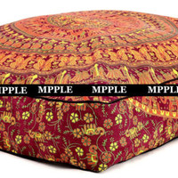 Indian Handmade Camel Mandala Bohemian Square Floor Decor Pouf Cushion cover