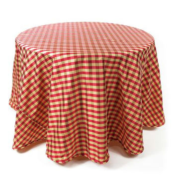 2 Round Tablecloths - Red And Gold Check