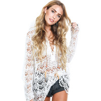Sexy Hollow Out Women Blouse White Lace Blouse Long Sleeve Ethnic Crochet Top Open Chest Loose Beach Cover Up Top Shirts Female