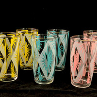 Vintage 1950s 1960s Atomic Starburst Set of 6 Glasses - Retro, Mid Century Goodness