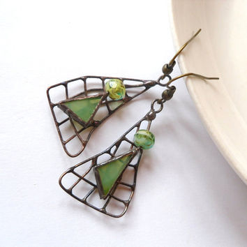 Stained glass dangle earrings green beaded copper wire funky