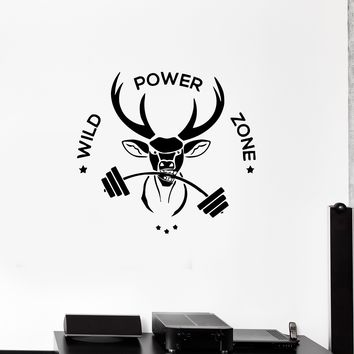 Wall Decal Sports Fitness Phrase Animal Deer Wild Power Zone Gym Vinyl Sticker (ed1120)