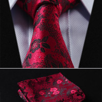 "Paisley TF2005R8 Red Floral 3.4"" 100%Silk Wedding Jacquard Woven Men Tie Necktie Pocket Square Handkerchief Set Suit"