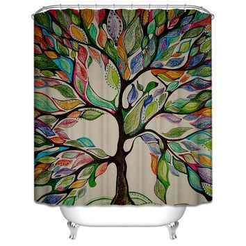 Colorful Tree & Wooden Bridge Waterproof Shower Curtains Bathroom Creative Polyester Bath Curtain cortina de bano with 12 Hooks