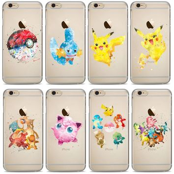 Pocket Monsters Pokemons Go Watercolor Art Design Phone Soft Silicone Case For iphone 5S SE 6 6S Plus 7 7Plus 8 8Plus X Cases