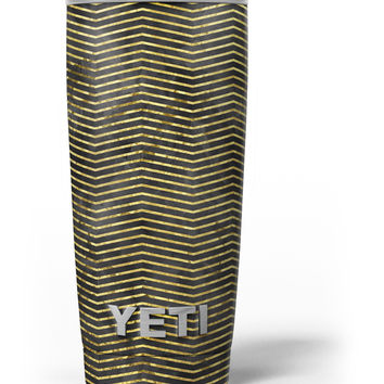 Black and Gold Watercolor Chevron Yeti Rambler Skin Kit