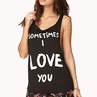 FOREVER 21 Sometimes I Love You Tank Black/Cream