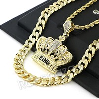 BLING KING CROWN CHARM ROPE CHAIN DIAMOND CUT CUBAN CHAIN NECKLACE G70