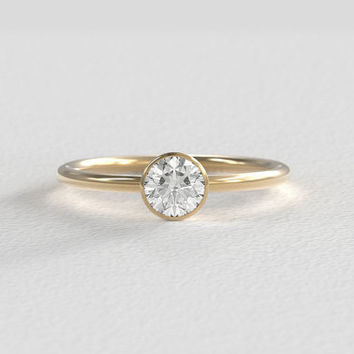 Round Brilliant Cut 5mm Moissanite Bezel set in a Recycled 14k Gold Minimal Round Band