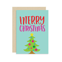 Merry Christmas - Christmas Holiday Seasonal Card Gift - Kid Child Colorful - Modern Cute Fun 5x7
