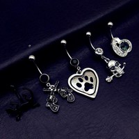 5pcs mix style black heart bear skull gun gecko dangle navel belly bar button rings body piercing jewelry