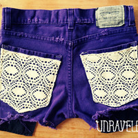 Levis Denim Shorts, Lace Pockets (Size X SMALL to SMALL)