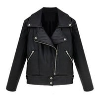 ZLYC Women Lady Girls Fashion Cool PU Leather Look Zip Biker Moto Jacket