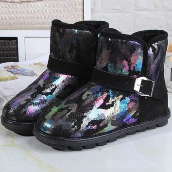 New Black Round Toe Flat Sequin Patchwork Fashion Ankle Boots