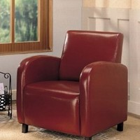 Accent Chair Contemporary Style in Red Vinyl