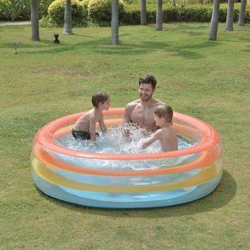 LMFMS9 73.5' Vibrantly Colored Inflatable Swimming Pool with Translucent Walls
