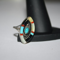 Beautiful Abalone, coral and turquoise Vintage Ring Size 4.5 - free ship US