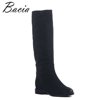 Bacia Geen Cow Suede Boots Vintage Straight cylinder boots Warm Wool + Velvet Winter Fashion Women Knee-High Boots  MB026