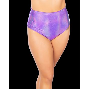Holographic Purple High-Waist Booty Shorts