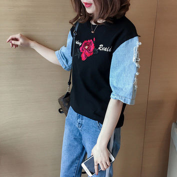 New 2017 Fashion Japanese Harajuku Floral Embroidery T Shirts Patchwork Denim Short Sleeve T-shirts Plus Size Female Women Tops