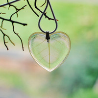 Lemon Leaf Necklace 02 Yellow Heart Resin Jewelry Real Leaf Veins Transparent Pendant Love Romantic 925 Silver Plated