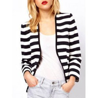 Chic Long Sleeve Striped Slimming Jacket For Women
