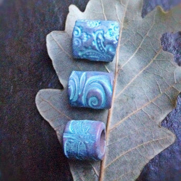 Dreadlock bead set of 3, handmade polymer clay dread bead,