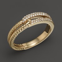 Pavé Diamond Link Ring in 14K Yellow Gold, .20 ct. t.w.
