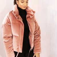 Boxy Cropped Padded Velvet Puffer Jacket with Funnel Neck in Dusky Pink