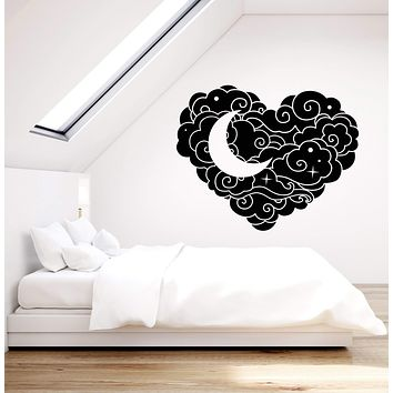 Vinyl Wall Decal Abstract Cloud Heart Star Moon Bedroom Decoration Stickers (2865ig)