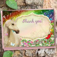 Unicorn thank you card - digital file to print yourself - rainbow butterfly garden design