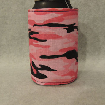 Pink Camo Can or Water Bottle Cozy Koozie