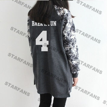 KPOP EXO same paragraph long section of school uniforms baseball uniform sweater coat Wu Yifan Lu Han Oh Se-hoon should aid service (Size: L, Color: Grey) = 1945976196