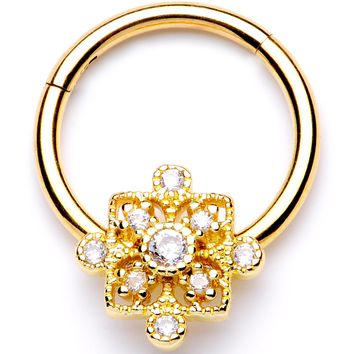 """16 Gauge 3/8"""" Clear CZ Gold Tone Royal Square Hinged Segment Ring"""