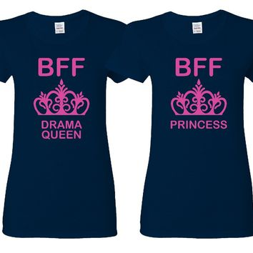 Drama Queen and Princess Girl BFFS T-shirts