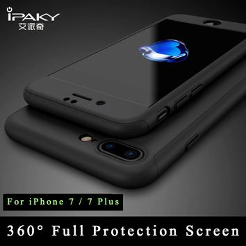 iPaky Ultra Thin 360 full For iphone 7 case + Tempered Glass Screen Protector for iPhone 7 plus case Full Body Cover For iphone7