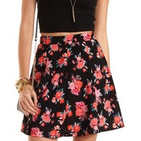 Floral Print Skater Skirt by Charlotte Russe