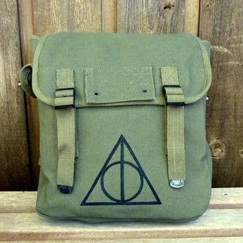 Large Harry Potter Deathly Hallows Hand Painted on a Vintage Style Military Canvas Backpack / Rucksack