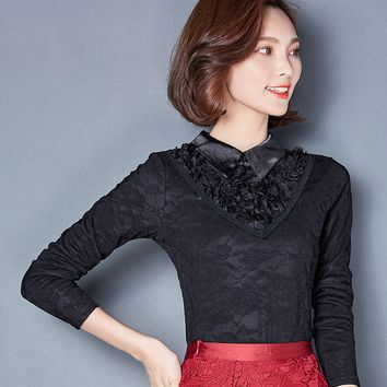 Hot sale Floral lace shirt Women New Fashion Ladies shirt long-sleeved Patchwork Hollow out Plus size Women clothing Lace Tops